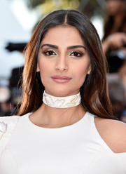 Sonam Kapoor went for simple elegance with this loose center-parted hairstyle at the Cannes premiere of 'From the Land of the Moon.'