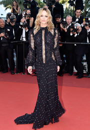 Vanessa Paradis donned a lace-panel dotted gown by Elie Saab for the Cannes premiere of 'From the Land of the Moon.'