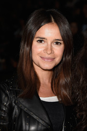 Miroslava Duma kept it simple with this center-parted hairstyle at the Lanvin fashion show.
