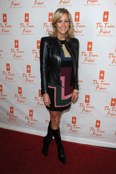 Lara Spencer Leather Jacket [kathy griffin performs at the gibson amphitheatre,clothing,carpet,joint,footwear,leather,knee,dress,outerwear,flooring,riding boot,lara spencer,kathy griffin,aid,the trevor project,universal city walk,the gibson amphitheatre,universal city,california]