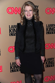 Mary wears a leather vest with fur trim for the last broadcast of 'Larry King Live.'
