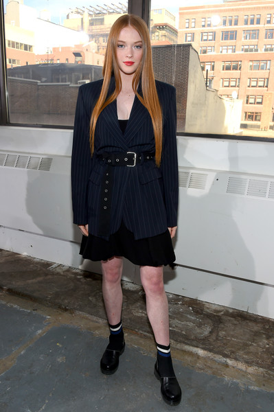 Larsen Thompson Blazer [clothing,black,street fashion,fashion,snapshot,footwear,outerwear,leg,knee,dress,phillip lim,larsen thompson,front row,skylight clarkson north,new york city,the shows,new york fashion week]