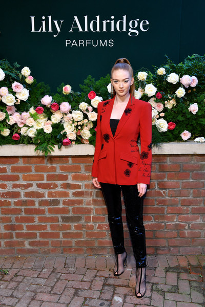 Larsen Thompson Blazer [photo,red,clothing,pink,outerwear,flower,fashion,footwear,formal wear,suit,spring,larsen thompson,lily aldridge,the bowery terrace,new york city,bowery hotel,lily aldridge parfums launch event,launch event]