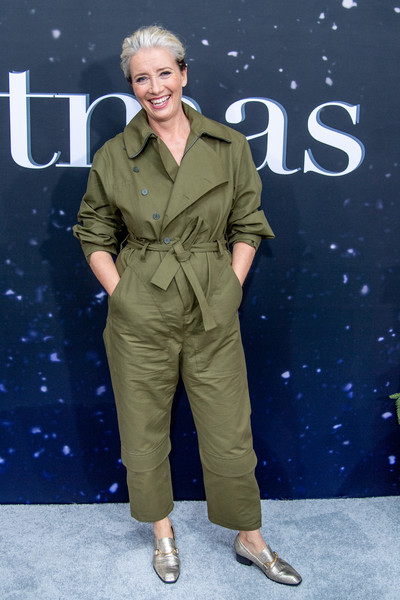 Emma Thompson styled her look with a pair of gold loafers.