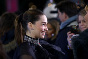 Emilia Clarke opted for a simple ponytail when she attended the UK premiere of 'Last Christmas.'