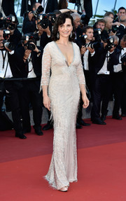 Juliette Binoche was all about classic glamour in a crystal-fringed gown by Roberto Cavalli Couture at the Cannes premiere of 'The Last Face.'