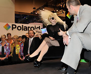 Lady Gaga paired her sheer dress with patent leather pumps.