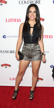 Becky G finished off her foxy ensemble with a pair of strappy black platform sandals.