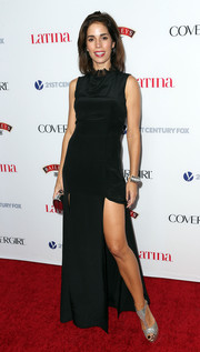 Ana Ortiz styled her black evening dress with a pair of glittery silver T-strap sandals for the Hollywood Hot List party.