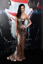 Tao Okamoto shone in a copper-hued geometric-sequined gown by Tadashi Shoji at the 'Batman v Superman' premiere.