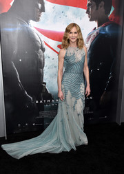 Holly Hunter stole the spotlight in a pastel-blue Antonio Grimaldi gown during the 'Batman v Superman' premiere. The beaded midsection looked appropriately comicbook-y without diminishing the glamorous feel.