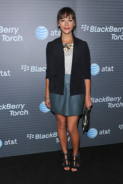 Rashida rocked a funky feathered pair of leather sandals.