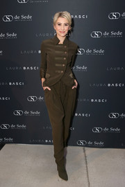 Chelsea Kane sported a military-chic pantsuit at the Laura Basci and de Sede LA showroom opening.