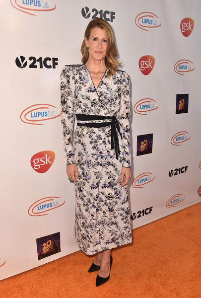 Laura Dern Wrap Dress [clothing,red carpet,dress,carpet,fashion,hairstyle,flooring,shoulder,premiere,footwear,arrivals,laura dern,lupus la,beverly hills,california,beverly wilshire four seasons hotel,orange ball,lupus la orange ball]