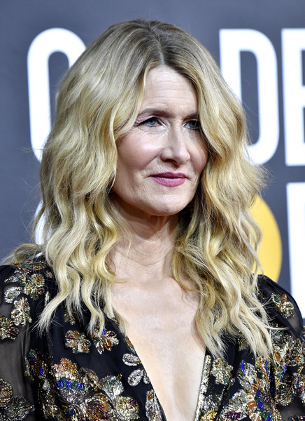 Laura Dern Long Wavy Cut [hair,blond,hairstyle,long hair,layered hair,eyebrow,surfer hair,chin,hair coloring,lip,arrivals,laura dern,the beverly hilton hotel,beverly hills,california,golden globe awards,laura dern,75th golden globe awards,marriage story,actor,the beverly hilton,2020,2018,fashion,golden globe award for best supporting actress \u2013 motion picture]