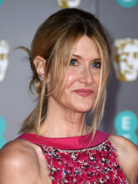 Laura Dern Messy Updo [hair,hairstyle,blond,brown hair,long hair,shoulder,layered hair,premiere,feathered hair,smile,laura dern,british academy film awards,ee,england,london,royal albert hall,red carpet arrivals,laura dern,73rd british academy film awards,marriage story,celebrity,actor,image,photograph,blond,photography]