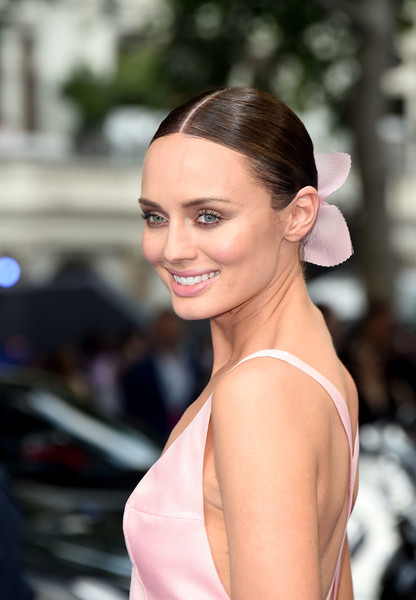 Laura Haddock Classic Bun [transformers: the last knight global premiere,hair,hairstyle,beauty,lip,shoulder,eyebrow,skin,chin,chignon,fashion,laura haddock,england,london,cineworld leicester square,premiere]