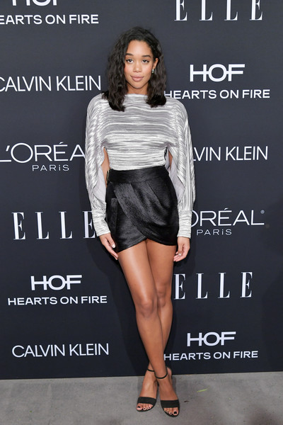 Laura Harrier Mini Skirt [elle,hearts on fire,loreal paris,red carpet,clothing,fashion,fashion model,dress,footwear,joint,leg,cocktail dress,shoe,fashion show,los angeles,beverly hills,california,25th annual women in hollywood celebration,calvin klein,laura harrier]
