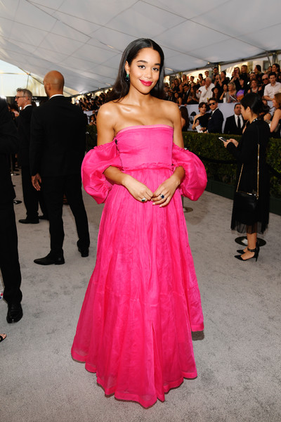 Laura Harrier Off-the-Shoulder Dress [red carpet,clothing,dress,pink,shoulder,strapless dress,gown,fashion,fashion model,beauty,lady,laura harrier,screen actors guild awards,screen actors\u00e2 guild awards,california,los angeles,the shrine auditorium]