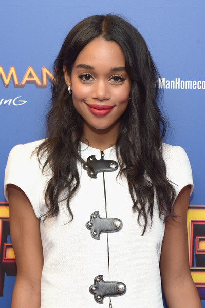Laura Harrier Long Wavy Cut [spiderman: homecoming,hair,hairstyle,long hair,layered hair,black hair,premiere,singer,eyelash,fashion design,brown hair,new york first responders,laura harrier,new york city,henry r. luce auditorium,brookfield place,screening,new york first responders screening]