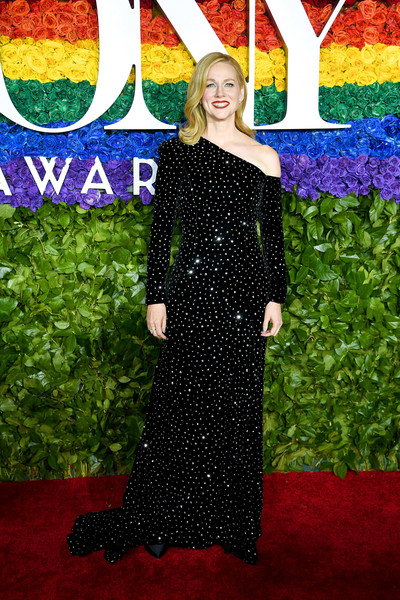 Laura Linney Off-the-Shoulder Dress [red carpet,red carpet,carpet,clothing,dress,flooring,premiere,event,formal wear,gown,haute couture,laura linney,tony awards,new york city,radio city music hall,annual tony awards]