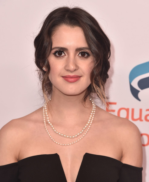 Laura Marano Loose Bun [hair,face,hairstyle,lip,shoulder,eyebrow,beauty,chin,skin,joint,arrivals,laura marano,beverly hills,california,the beverly hilton hotel,equality now,annual make equality reality gala]
