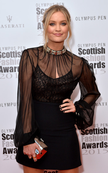 Laura Whitmore Metallic Clutch [clothing,dress,little black dress,beauty,hairstyle,fashion,neck,lip,cocktail dress,blond,red carpet arrivals,laura whitmore,scottish fashion awards,corinthia hotel london,england]