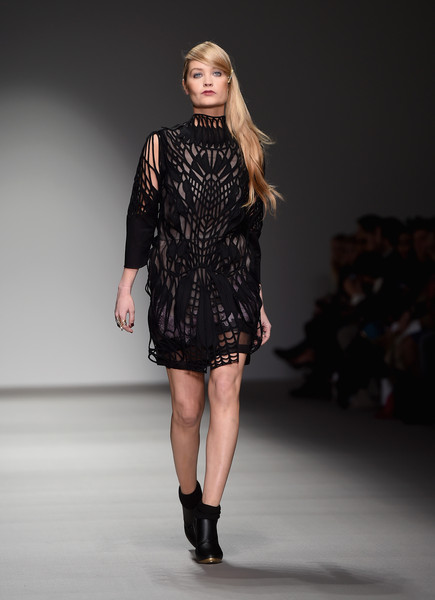 Laura Whitmore Little Black Dress [fashion show,fashion model,runway,fashion,clothing,shoulder,fashion design,dress,public event,event,laura whitmore,bora aksu,fw15,bora aksu - runway,runway,london,england,somerset house,lfw,show]