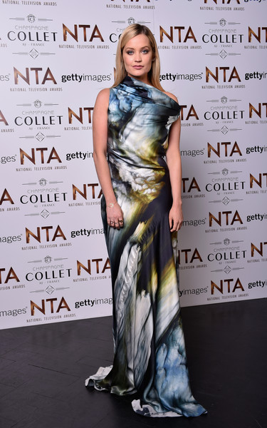 Laura Whitmore Print Dress [clothing,shoulder,dress,fashion,premiere,fashion design,carpet,joint,flooring,event,the o2 arena,london,england,national television awards,inside arrivals,laura whitmore]