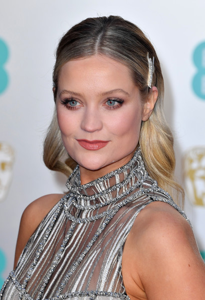 Laura Whitmore Long Wavy Cut [hair,hairstyle,eyebrow,blond,beauty,chin,lip,long hair,brown hair,fashion accessory,red carpet arrivals,laura whitmore,ee,london,england,royal albert hall,british academy film awards]