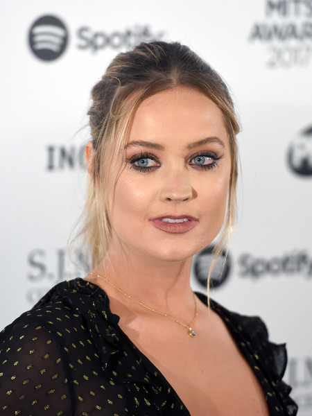 Laura Whitmore Ponytail [hair,face,eyebrow,hairstyle,lip,shoulder,beauty,chin,eyelash,forehead,arrivals,laura whitmore,music industry trust awards,london,england,grosvenor house hotel]