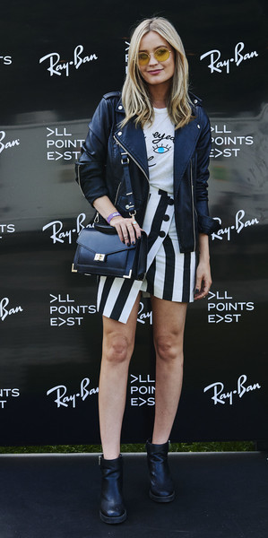 Laura Whitmore Leather Jacket [clothing,street fashion,fashion,outerwear,footwear,electric blue,jacket,dress,shoe,fashion model,laura whitmore,handout image,studios,ray-ban studios,victoria park,london,england,ray-ban,all points east festival]