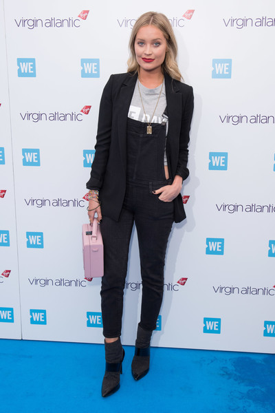 Laura Whitmore Overalls [clothing,fashion,yellow,outerwear,suit,carpet,footwear,pantsuit,electric blue,blazer,laura whitmore,wembley arena,london,england,day uk,we day uk]
