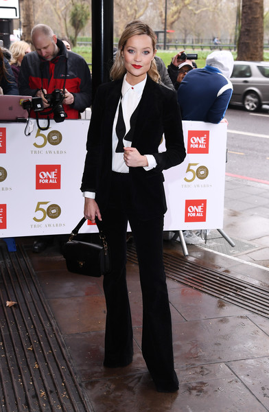 Laura Whitmore Pantsuit [suit,event,formal wear,street fashion,blazer,flooring,tuxedo,red carpet arrivals,laura whitmore,tric awards,england,london,the grosvenor house hotel]