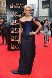 Hannah Waddingham chose a two-toned blue gown with a blow shoulder strap and a corset-style bodice for her red carpet look.