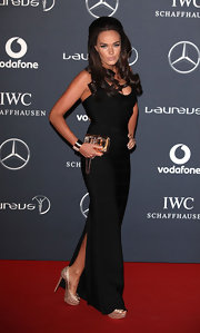 Tamara Ecclestone wore a black floor-length bandage dress to the Laureus World Sports Awards.
