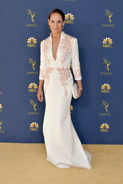 Laurie Metcalf Embroidered Dress [clothing,red carpet,carpet,dress,flooring,gown,lady,hairstyle,fashion,premiere,arrivals,laurie metcalf,emmy awards,70th emmy awards,microsoft theater,los angeles,california]