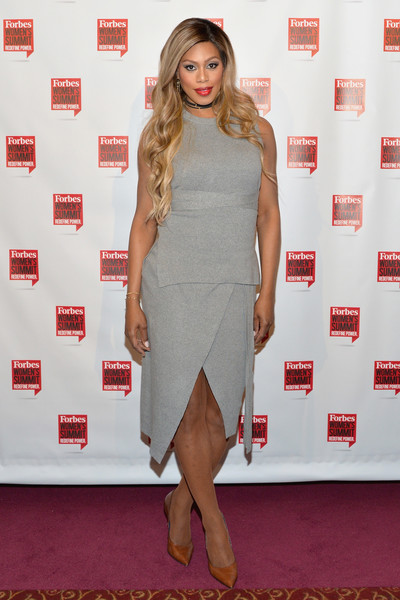 Laverne Cox Pumps [clothing,dress,red carpet,cocktail dress,carpet,shoulder,fashion,hairstyle,footwear,flooring,pier sixty,new york city,chelsea piers,forbes womens summit,laverne cox]