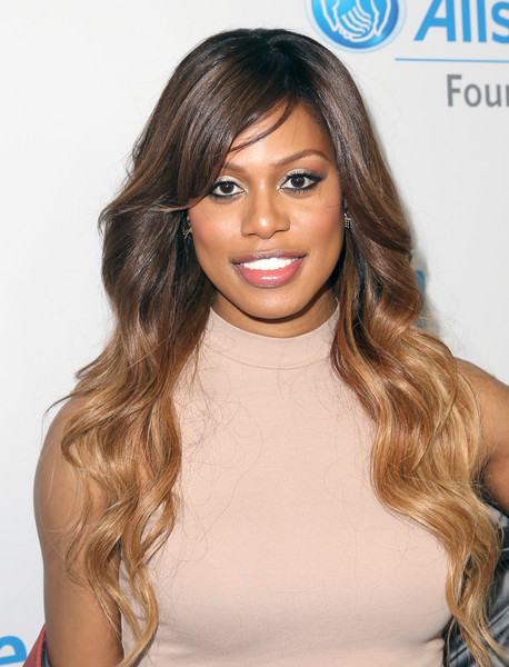 Laverne Cox Ombre Hair [hair,hairstyle,face,blond,eyebrow,long hair,hair coloring,brown hair,layered hair,beauty,come together at we day california,california,selena gomez,demi lovato,alicia keys,laverne cox,young people changing the world,miss piggy,dj khaled,bryan cranston]