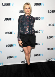 Taylor Schilling wore her Thakoon Addition floral blouse buttoned all the way up during the 'Laverne Cox Presents: The T Word' screening.