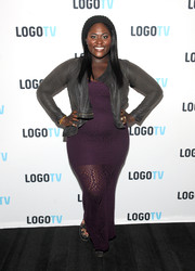 Danielle Brooks added some edge with a drapey gray moto jacket.