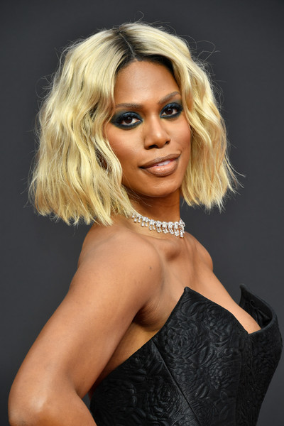 Laverne Cox Short Wavy Cut [hair,blond,face,hairstyle,fashion model,lady,beauty,eyebrow,lip,chin,arrivals,laverne cox,creative arts emmy awards,los angeles,california]