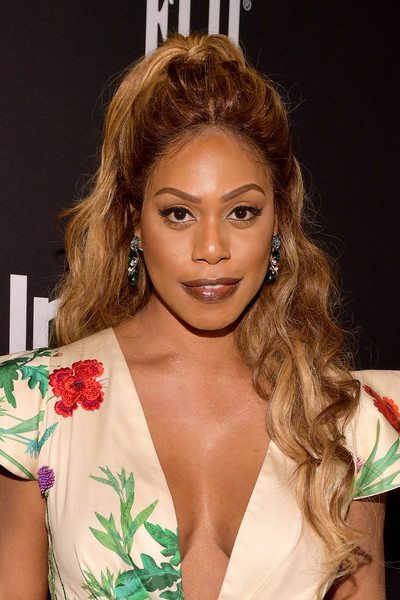 Laverne Cox Half Up Half Down [red carpet,hair,hairstyle,eyebrow,beauty,blond,lip,brown hair,shoulder,ringlet,long hair,laverne cox,instyle awards,the getty center,los angeles,california]