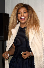 Laverne Cox attended an event at Macy's Herald Square wearing glittery silver nail polish.