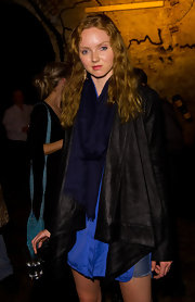 Lily Cole looked very modern at the launch of Minotaur in a black shawl-collar jacket.