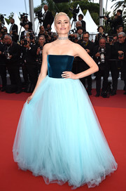 Pixie Lott was a princess in a strapless Yanina Couture gown in two shades of blue at the 2019 Cannes Film Festival screening of 'La Belle Epoque.'