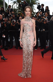 Natalia Vodianova was a stunner in a sheer silver and pink column dress by Atelier Versace at the 2019 Cannes Film Festival screening of 'La Belle Epoque.'