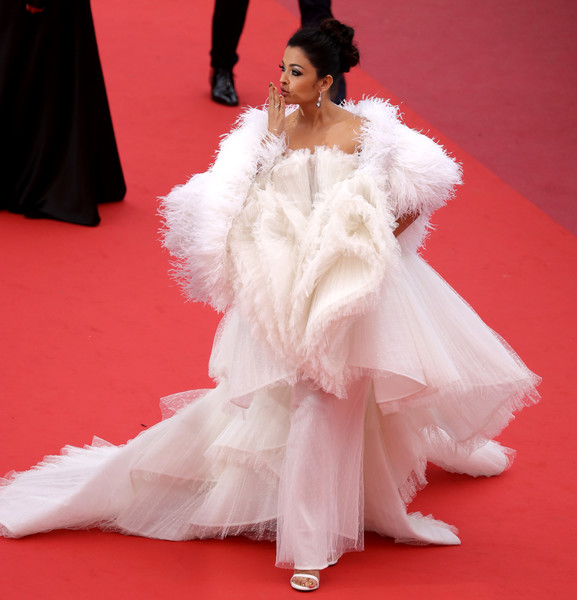 More Pics of Aishwarya Rai Princess Gown (1 of 44) - Aishwarya Rai Lookbook - StyleBistro [red carpet,white,fashion model,carpet,clothing,dress,flooring,fashion,pink,gown,aishwarya rai,screening,le belle epoque,cannes,france,red carpet,the 72nd annual cannes film festival]