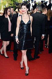 Delphine Chanceac chose a slinky beaded dress for a sleek and classic red carpet look.