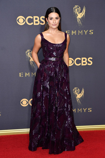 Lea Michele Sequin Dress [flooring,gown,carpet,dress,shoulder,fashion model,red carpet,joint,fashion,formal wear,arrivals,lea michele,microsoft theater,los angeles,california,primetime emmy awards]